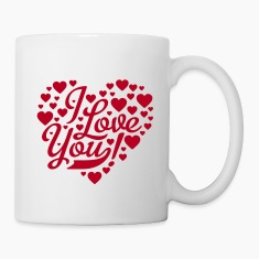 White i love you heart shaped design Mugs