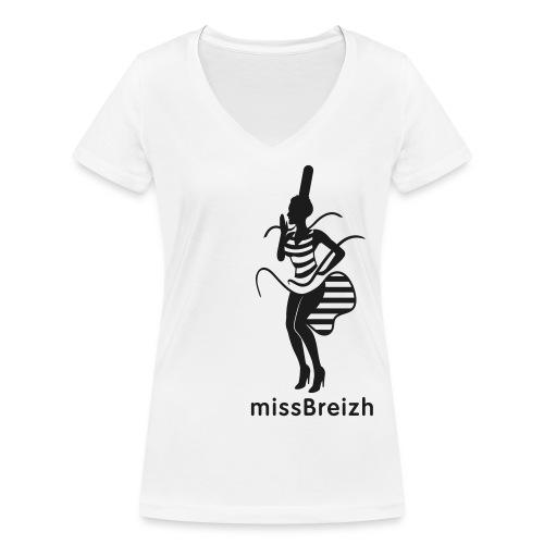 col V missBreizh noir pailleté - T-shirt bio col V Stanley & Stella Femme