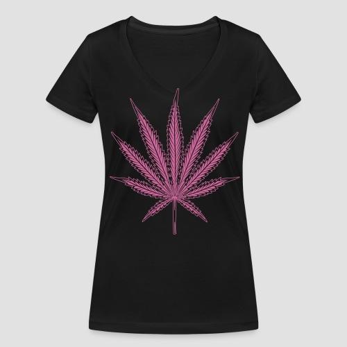 Hanf blatt mit vielen details - Frauen Bio-T-Shirt mit V-Ausschnitt von Stanley & Stella