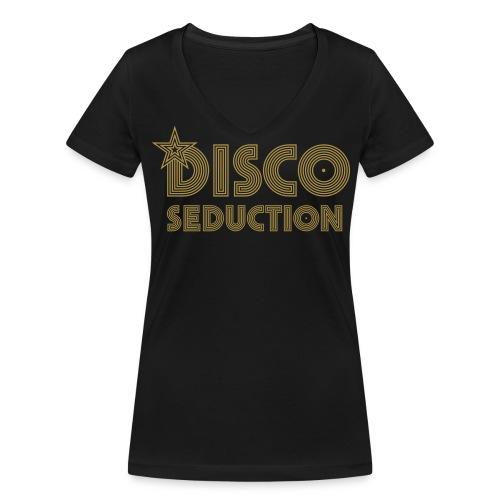 Disco Seduction V-Neck Black / Gold - Frauen Bio-T-Shirt mit V-Ausschnitt von Stanley & Stella