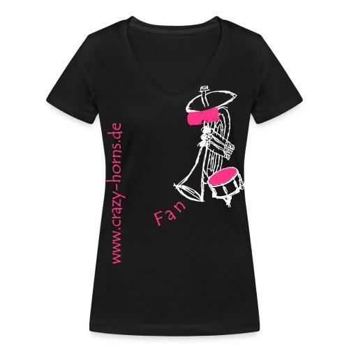 Frauen Bio-T-Shirt mit V-Ausschnitt von Stanley & Stella - Unser Fan-Shirt für hübsche Frauen und Freunde der Crazy Horns. Achtung: Die Größen der T-Shirts fallen normal aus. Bitte beachtet trotzdem die Größen in der Maßtabelle!