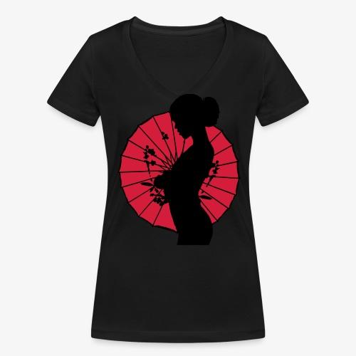 Geisha - sexy Frauen Silhouette T-Shirts - Frauen Bio-T-Shirt mit V-Ausschnitt von Stanley & Stella