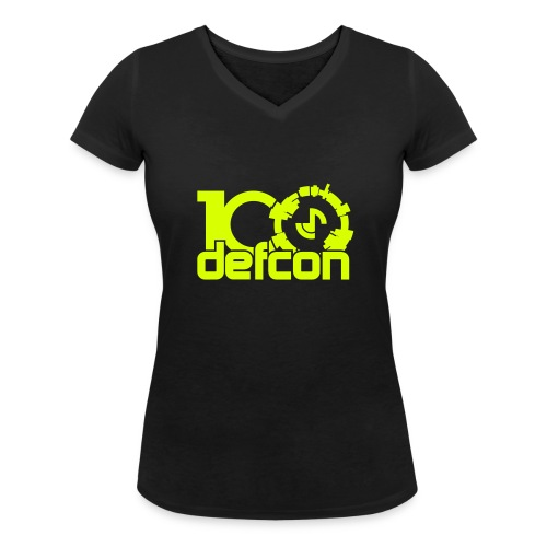Defcon 100 women's v-neck neon yellow logo - Women's Organic V-Neck T-Shirt by Stanley & Stella