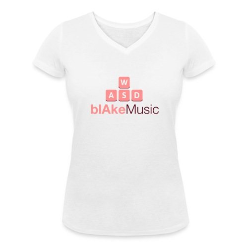blAkeMusic Womens Tee - V-Neck - White - Women's Organic V-Neck T-Shirt by Stanley & Stella