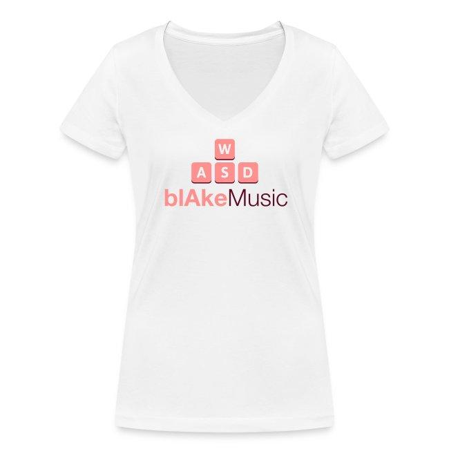 blAkeMusic Womens Tee - V-Neck - White