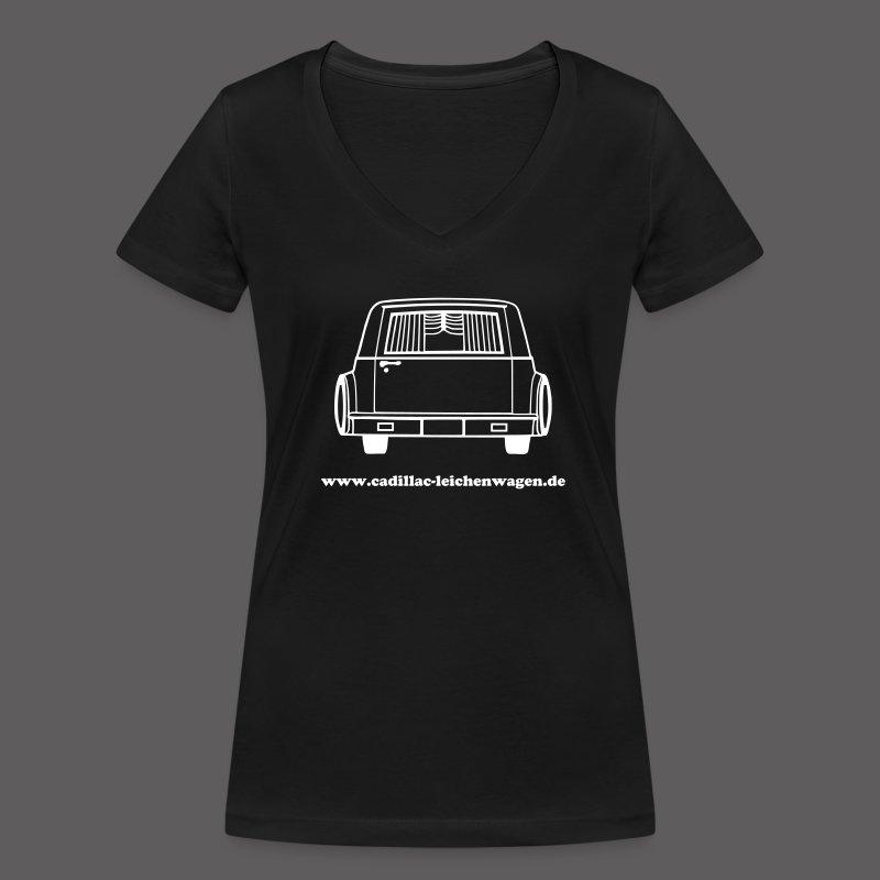 Frauen Bio-T-Shirt mit V-Ausschnitt von Stanley & Stella - Tod,Sensenmann,Sarg,Leichenwagen,Friedhof,Cadillac,Bestatter