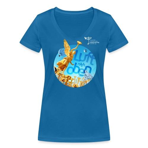 Frauen T-Shirt, eigener Text auf dem Rücken - Frauen Bio-T-Shirt mit V-Ausschnitt von Stanley & Stella