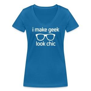 Girlieshirt I make Geek look Chic! - Vrouwen bio T-shirt met V-hals van Stanley & Stella