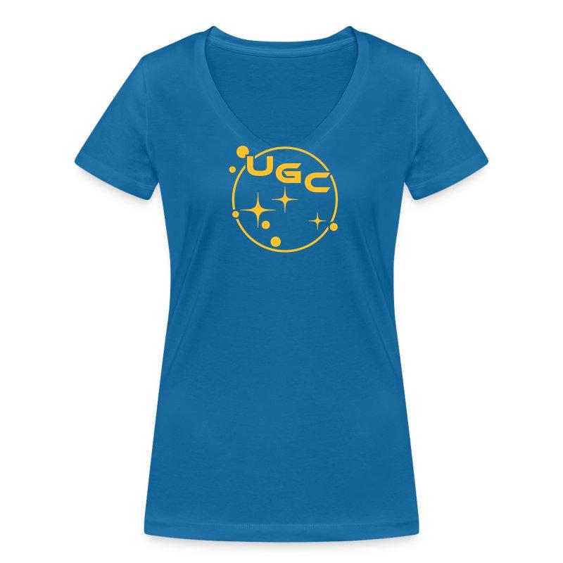 UGC Planet Logo mit Backprint - Frauen Bio-T-Shirt mit V-Ausschnitt von Stanley & Stella