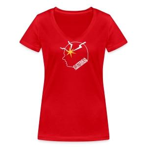 Clusterhead t-shirt for women, white logo - Women's Organic V-Neck T-Shirt by Stanley & Stella