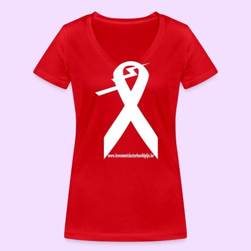 T-shirt met V-hals en contrast logo - Vrouwen bio T-shirt met V-hals van Stanley & Stella