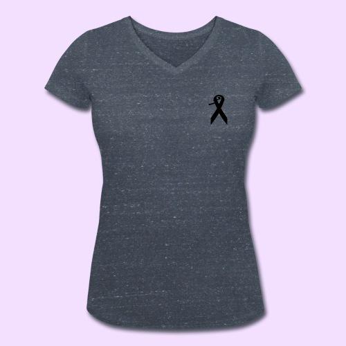 T-shirt met V-hals en klein zwart contrast logo - Vrouwen bio T-shirt met V-hals van Stanley & Stella