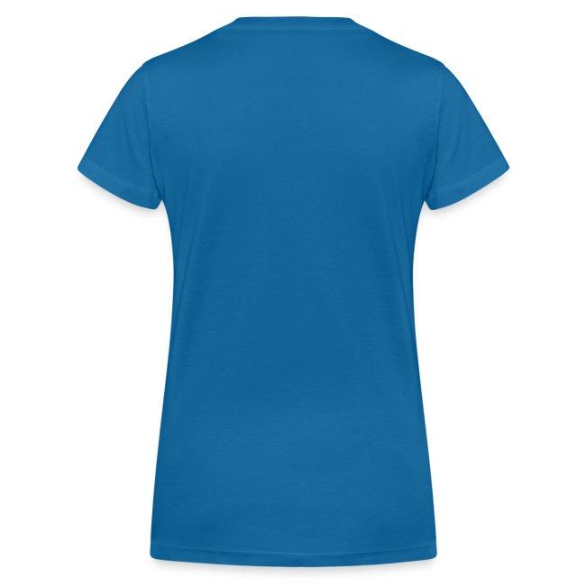 Frauen T-Shirt, Folien-Text hellblau/weiß