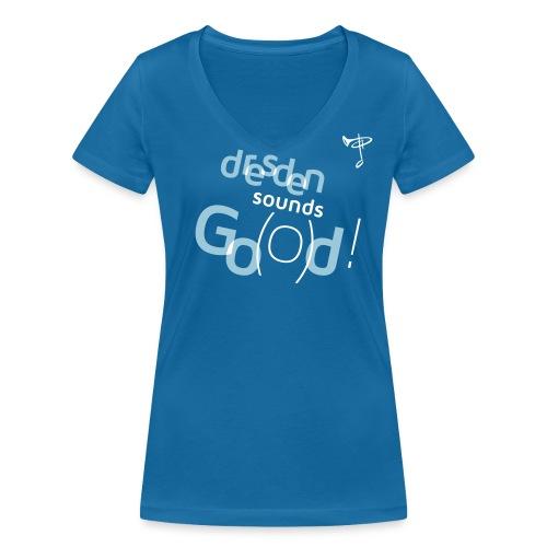 Frauen T-Shirt, eigener Text auf dem Rücken, Folien-Text hellblau/weiß - Frauen Bio-T-Shirt mit V-Ausschnitt von Stanley & Stella