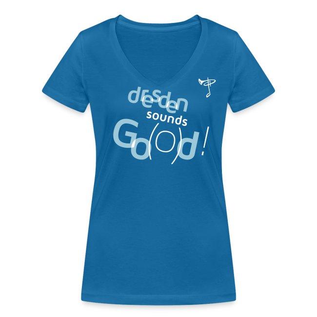 Frauen T-Shirt, eigener Text auf dem Rücken, Folien-Text hellblau/weiß