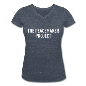 "Peacemaker Shirt ""Logo"" (Dark grey heather with white print Woman) - Frauen Bio-T-Shirt mit V-Ausschnitt von Stanley & Stella"