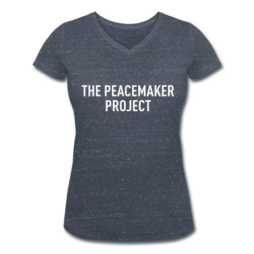 """Peacemaker Shirt """"Logo"""" (Dark grey heather with white print Woman) - Frauen Bio-T-Shirt mit V-Ausschnitt von Stanley & Stella"""