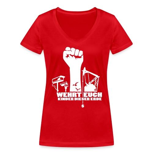 Wehrt Euch – Rot - Frauen Bio-T-Shirt mit V-Ausschnitt von Stanley & Stella