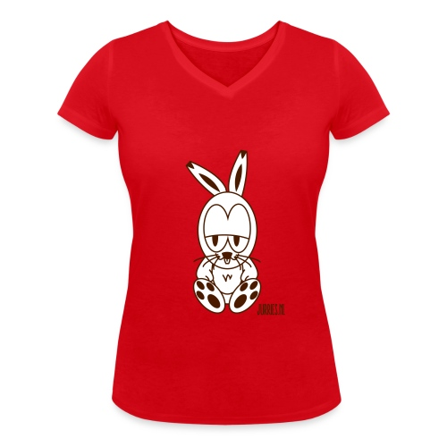 Vrouwen t-shirt Rabbe - Vrouwen bio T-shirt met V-hals van Stanley & Stella