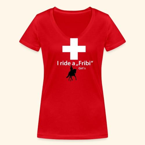 """Freiberger T-Shirt """"Dressur"""" Girls - Frauen Bio-T-Shirt mit V-Ausschnitt von Stanley & Stella"""