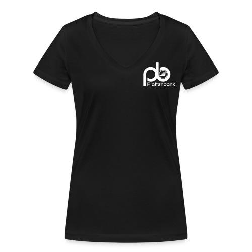 Plattenbank Lady Heart and Back - Women's Organic V-Neck T-Shirt by Stanley & Stella