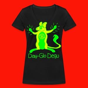 Day-Glo Degu Ladies Vee Tee - Women's Organic V-Neck T-Shirt by Stanley & Stella