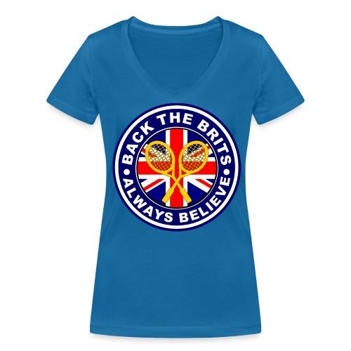 Back The Brits - Ladies V-Neck T-shirt - Blue. - Women's Organic V-Neck T-Shirt by Stanley & Stella