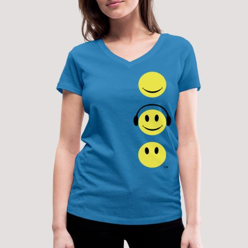 See Hear Speak Smiley T - Women's Organic V-Neck T-Shirt by Stanley & Stella
