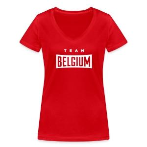 Team Belgium - Vrouwen bio T-shirt met V-hals van Stanley & Stella