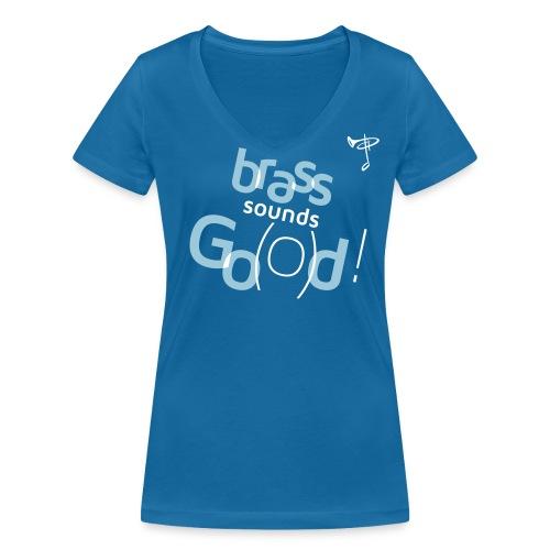 T-Shirt Frau, eigener Text auf dem Rücken, Folien-Text hellblau/weiß - Frauen Bio-T-Shirt mit V-Ausschnitt von Stanley & Stella