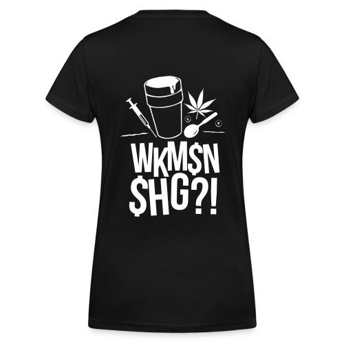 T-Shirt schwarz WKM$N$HG Drugs Frauen weißer Print - Frauen Bio-T-Shirt mit V-Ausschnitt von Stanley & Stella