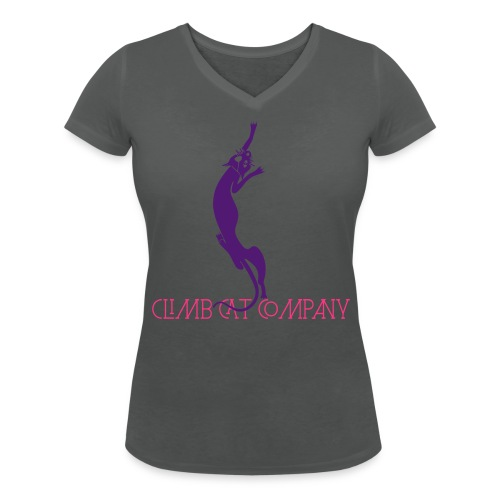 Cat loves breast By Climb Cat Company - T-shirt bio col V Stanley & Stella Femme