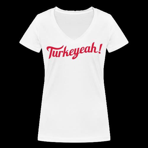 Turkeyeah! Wave Women T-Shirt V-Neck White - Frauen Bio-T-Shirt mit V-Ausschnitt von Stanley & Stella