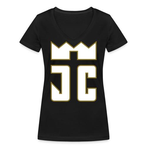 JC Women V T-Shirt black/white-goldline - Frauen Bio-T-Shirt mit V-Ausschnitt von Stanley & Stella