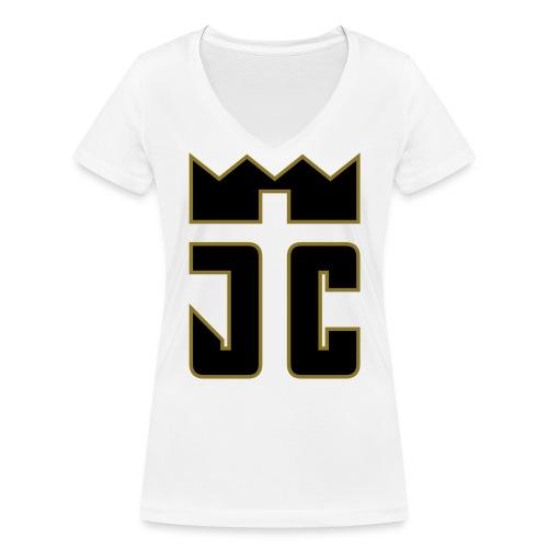 JC Women V T-Shirt white/black-goldline - Frauen Bio-T-Shirt mit V-Ausschnitt von Stanley & Stella