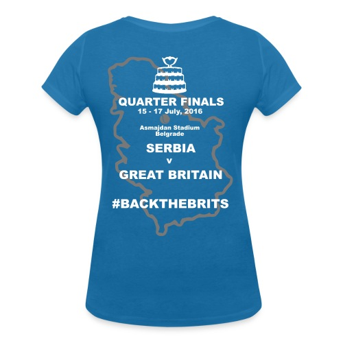 Davis Cup Quarters 2016. Ladies V Neck T. Blue - Women's Organic V-Neck T-Shirt by Stanley & Stella