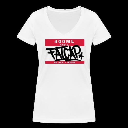 """Girl-Shirt """"Fatcap..."""" Weiß - Frauen Bio-T-Shirt mit V-Ausschnitt von Stanley & Stella"""