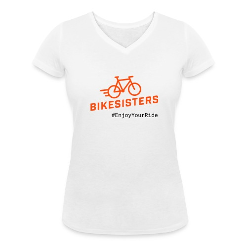 BIKESISTERS - T-Shirt Damen mit V-Ausschnitt - Frauen Bio-T-Shirt mit V-Ausschnitt von Stanley & Stella