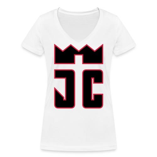 JC Women V T-Shirt white/black-redline - Frauen Bio-T-Shirt mit V-Ausschnitt von Stanley & Stella