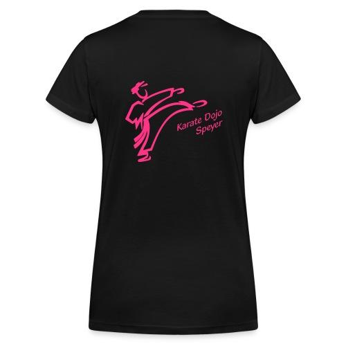 Damen T-Shirt V-Ausschnitt Logo pink - Frauen Bio-T-Shirt mit V-Ausschnitt von Stanley & Stella