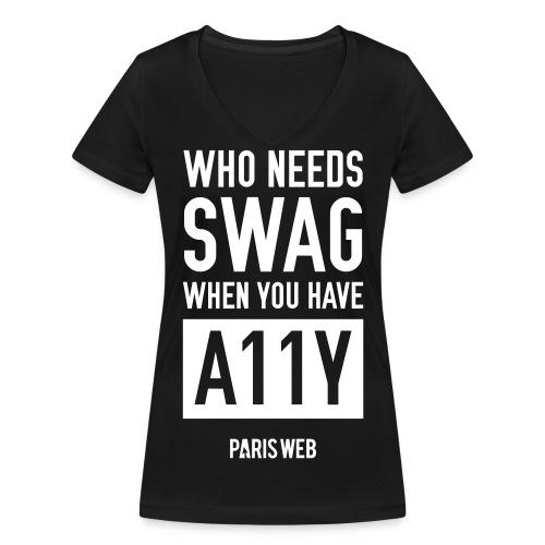 SWAG A11Y - Tshirt Femme col V - T-shirt bio col V Stanley & Stella Femme
