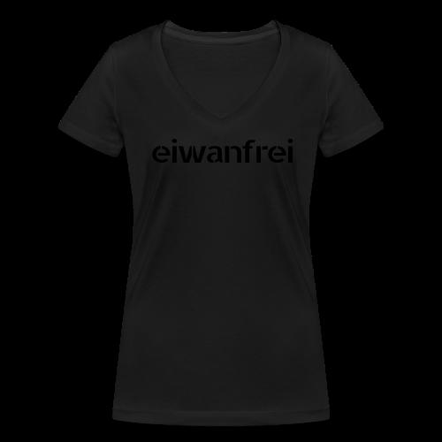 """Frauen Shirt """"eiwanfrei Bläck Kolläktschn"""" - schwarz auf schwarz - Frauen Bio-T-Shirt mit V-Ausschnitt von Stanley & Stella"""