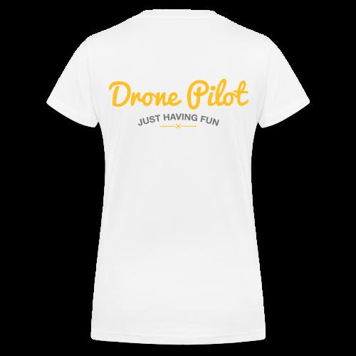 T-shirt V: Drone Pilot Just Having Fun (woman) | White - Vrouwen bio T-shirt met V-hals van Stanley & Stella
