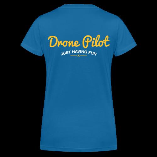 T-shirt V: Drone Pilot Just Having Fun (woman) | Blue - Vrouwen bio T-shirt met V-hals van Stanley & Stella
