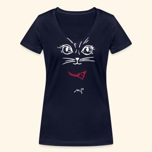 Katzendame Night - Frauen Bio-T-Shirt mit V-Ausschnitt von Stanley & Stella