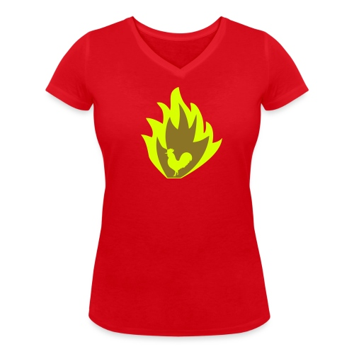 ROOSTER OF FIRE - Women's Organic V-Neck T-Shirt by Stanley & Stella