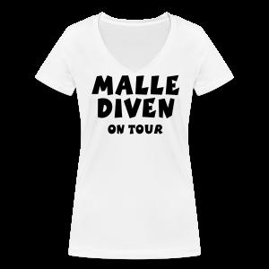 Malle Diven on Tour V-Neck T-Shirt - Frauen Bio-T-Shirt mit V-Ausschnitt von Stanley & Stella