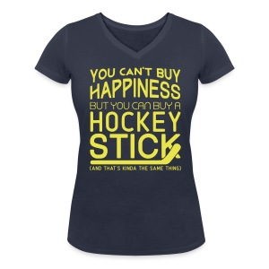 You Can't Buy Happiness (Hockey) Women's V-Neck T-Shirt - Women's Organic V-Neck T-Shirt by Stanley & Stella