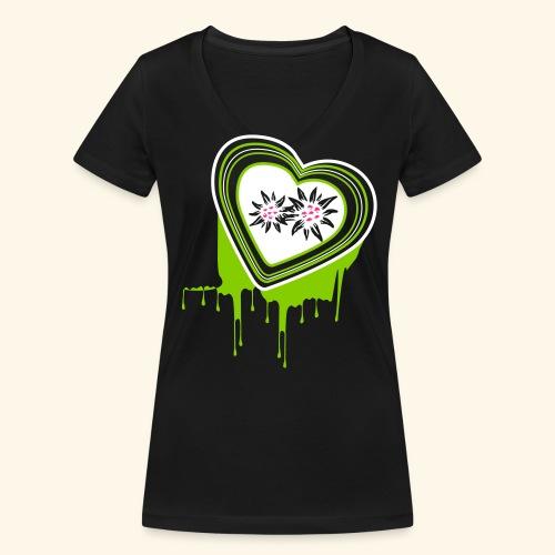 """Frauen Rollarm-Shirt """"Mein farbiges Herz"""" - Frauen Bio-T-Shirt mit V-Ausschnitt von Stanley & Stella"""