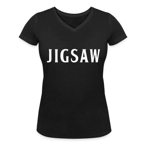 JigSaw On Tour Woman Back White - Women's Organic V-Neck T-Shirt by Stanley & Stella